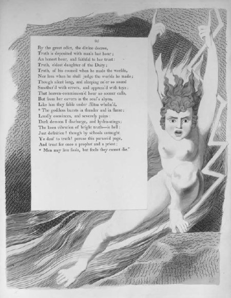 Truth, Night the Fourth, Young's <i>Night Thoughts</i>, engraving and watercolour drawing by William Blake