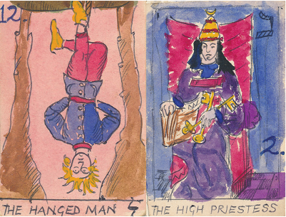 Tarot Cards The Hanged Man and The High Priestess