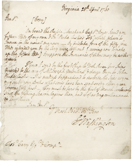 A letter from American President George Washington to his agent Robert Cary Washington 1760