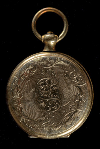 Closed locket showing engraved name 'Julia', 1850s